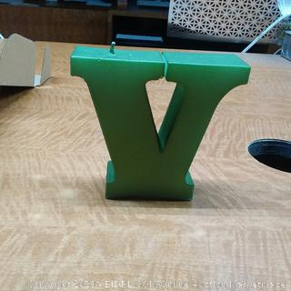 Candle Letter V Dark Green