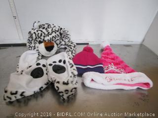Kids Leopard Hat Scarf & Pink Beanie Santa Hat