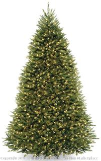 National Tree 9 Foot Dunhill Fir Tree with 900 Dual LED Lights and 9 Function Footswitch, Hinged (DUH-300D-90) (Retail $473.00)