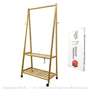 Kagura Bamboo Standing Clothes Organizer Garment Shelves-NEW (Online $72.04)
