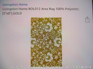 Livingston Home Area Rug 100% Polyester  5x8 Gold