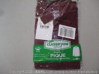 Classroom Uniforms Long Sleeve Polo Shirt Size L