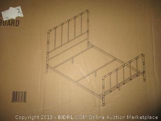 antique dark bronze metal queen bed frame - incomplete set