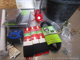 V-Belt, Tape Measure, Flower Pots, Paint Brushes, Doorbell, Copper Coil & Hummingbird Feeder