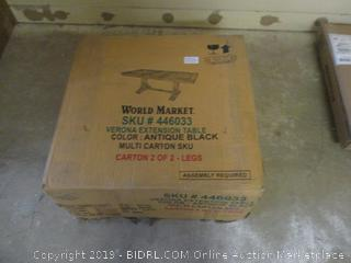 World Market Verona Extension Table  Box 2 of 2 Only  Incomplete Set Damaged Box