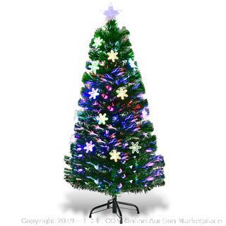 Costway 4FT Pre-Lit Fiber Optic Artificial Christmas Tree w/Multicolor Lights Snowflakes(Online $45.99)
