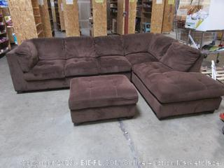 Brown Fabric Sectional Couch w/Ottoman