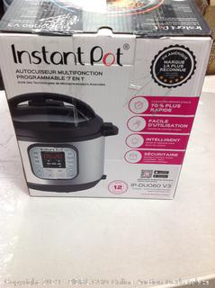 Instant Pot DUO60 6Qt 7-in-1 Multi- Use Programmable Pressure Cooker, Previous Owned (Online $79.99)