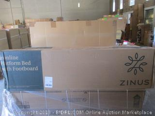 zinus ironline platform bed with footboard