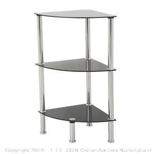 Black Glass and Chrome Tree Shelf Corner Unit