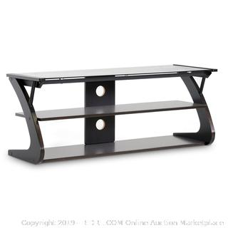 "Wholesale Interiors Sculpten Modern TV Stand with Glass Shelves for TVs up to 45"" (Online $82.43)"