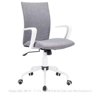 Grey Modern Office Chair Computer Desk Chair Comfort White Swivel Fabric Home Office Task Chair with Arms and Adjustable Height, Suitable for Computer Working and Meeting and Reception Place (Online $89.99)