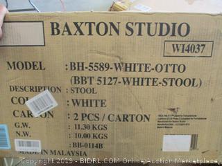 WHITE OTTOMAN STOOLS