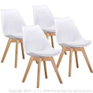 Lot #FO9473G VECELO Retro Dining Side Eames Style Chairs Durable PU  Cushion,with Solid Wooden Legs,