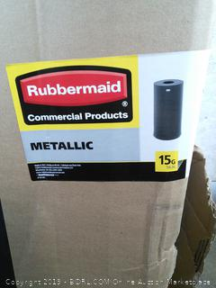 Rubbermaid Commercial Metallic Series Trash Can, 15 Gallon (online $200) dented on side
