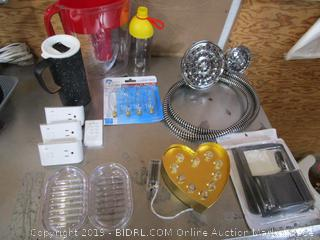 Water Pitcher, Clear Light Bulbs, Heart Light, Wall Sockets, Coffee Cup, Shower Head & Locker Accessory Kit