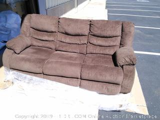 Ashley Signature Design by Henderson Pad-Arm Reclining Sofa (Retail $1300) Chocolate