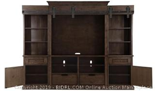 Fraser Warm Rustic Pine Wood Entertainment Wall Unit by Magnussen (missing significant pieces)