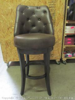 Brown Leather Swiveling Bar Stool Chair