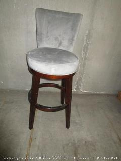 Wood & Gray Fabric Bar Stool Chair