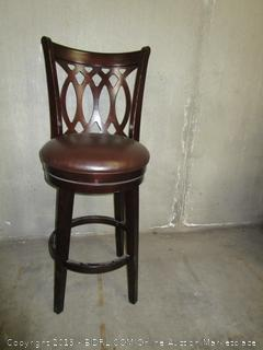 Brown Wood & Leather Bar Stool Chair