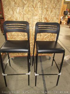 Pair of Bar Stool Chairs (metal, plastic and leather)
