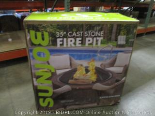 Sun Joe SJFP35-STN-RWD 35-in. Cast Stone Base, Wood Burning Fire Pit w/Dome Screen and Poker, Rivetted Wood (Retail $249.00)