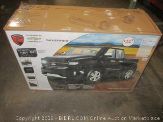 Rollplay W461-P 12V Chevy Silverado Truck Ride On Toy, Battery-Powered Kid's Ride On Car - Black, Small (Retail $388.00)