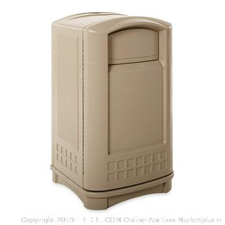 Rubbermaid Commercial Plaza Trash Can, 50 Gallon, Beige, FG396400BEIG (Retail $537.00)
