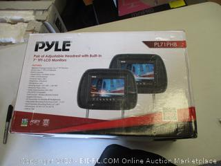 PYLE ADJUSTABLE HEADREST W/ BUILT-IN LCD MONITORS
