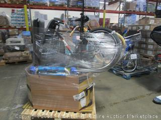 Pallet Lot: Bicycle, Floor Lamp, Beach Chairs, Tires, etc.