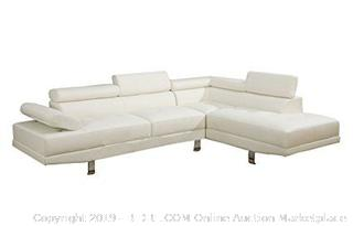 2 Pieces Faux Leather Sectional Right Chaise Sofa, White