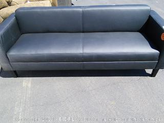Prestige Leather Sofa (online $1349) Chipped on leg, see photos