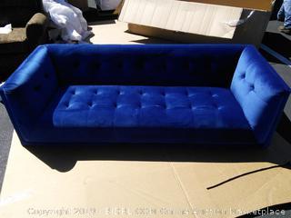 Tufted Sapphire Blue Velvet Sofa (small tear, missing leg, see photos)
