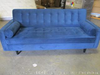 tufted goldstand blue velvet sofa