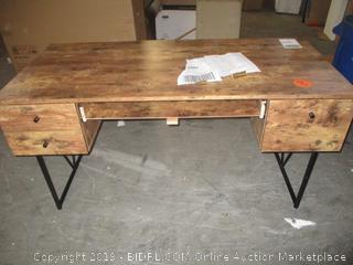 granite 4 drawer solid wood desk - damaged