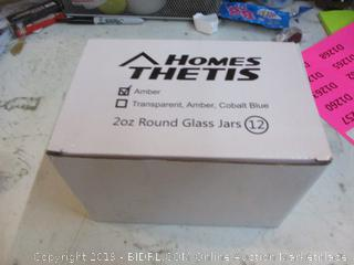 Home Thetis Amber 2oz Round Glass Jars