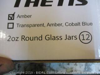 Home Thetis Amber 2oz Round Glass Jars