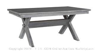 Turino Rectangle Table Grey Oak Finish (online $550)