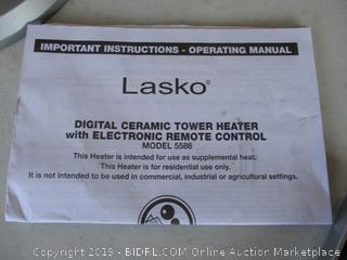 LASKO CERAMIC TOWER HEATER (POWERS ON)