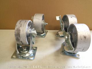 4 Heavy Duty Semi Steel Cast Iron Swivel Casters with Brakes (online $105)