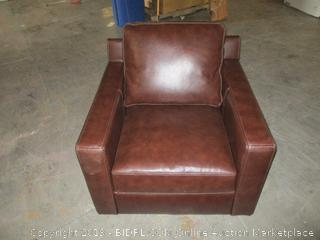 brown leather lounge chair - new