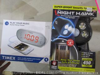 Timex Dual Alarm AM/FM Clock Radio and Night Hawk LED Wireless Motion Activated LED Spotlight