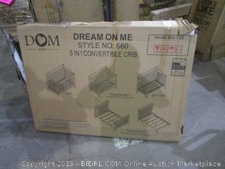 Dream On Me 5 in 1 Convertible Crib incomplete opened for picturing