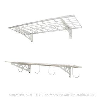SafeRacks Steel Wall Shelf 2-pack White SR-WS1 18x48 (MSRP $125)