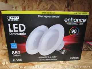 "Feit LED Dimmable 850-Lumens Flood Retrofit Kits 5""-6"" 9.4W/75W"