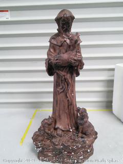 """St Francis Holding Deer 21.75"""" Tall (online $61)"""