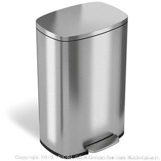 iTouchless SoftStep 13.2 Gallon Stainless Steel Step Trash Can (online $77)