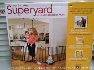 North States 3-in-1 Arched Décor Metal Superyard Gate/Play Yard (online $167)