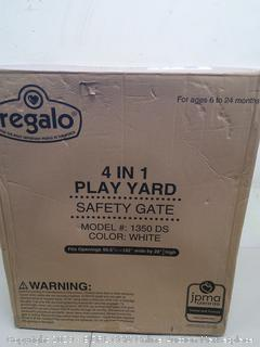 Regalo 4 In 1 Play Yard Safety Gate In White, Model #1350 DS, Ages 6 to 24 Months